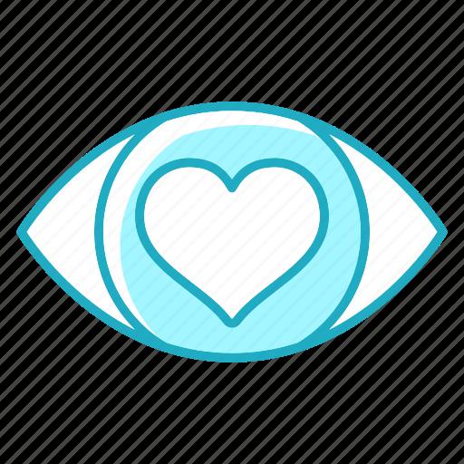 eye, heartlove, love, vision, wedding icon