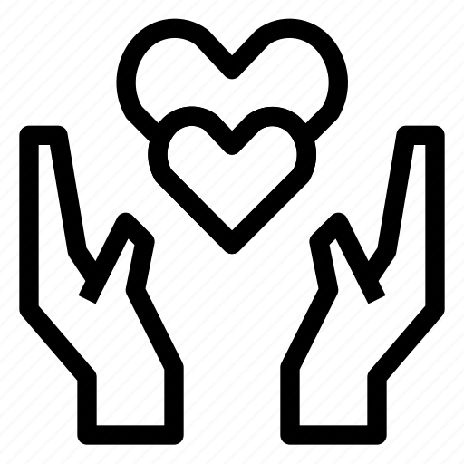 care, hand, heart, love, protect, wedding icon