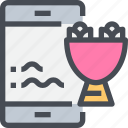 delivery, flowers, smartpphone, wedding icon