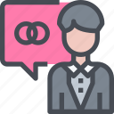 groom, message, people, wedding icon
