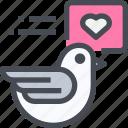 bird, dove, love, message icon