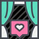 curtain, heart, love, wedding, windows icon