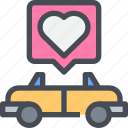 car, honeymoon, love, wedding icon