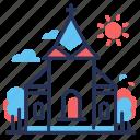 church, cross, religion, wedding icon