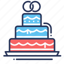 cake, ceremony, rings, wedding