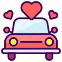 car, love, married, transportation, valentine, wedding icon