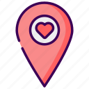 location, map, married, valentine, way, wedding icon
