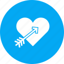 arrow, day, heart, love, red, romance, valentines icon