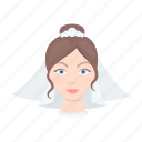 avatar, bride, face, veil, wedding, woman