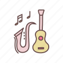 band, guitar, instrument, live, music, saxophone icon