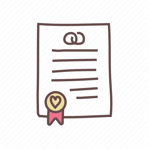 contract, document, marriage, paper, wedding icon