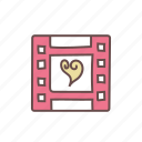 film, filmstrip, movie, multimedia, video, videography icon