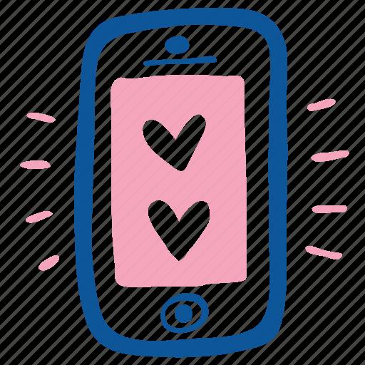 app, heart, love, mobile, smartphone, valentine, wedding icon