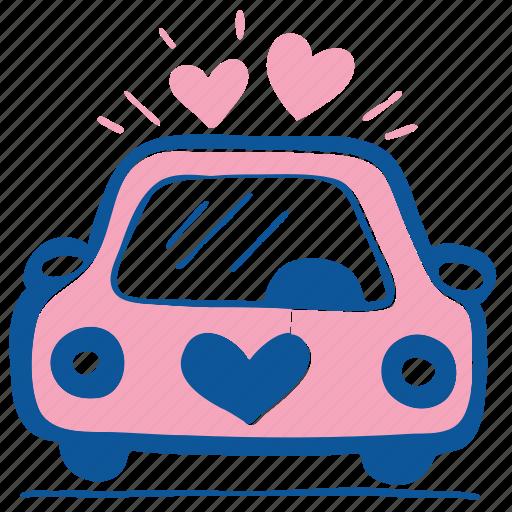 auto, automobile, car, love, transport, wedding icon