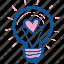 bulb, creative, heart, idea, lamp, love, wedding icon