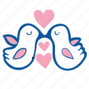 birds, couple, heart, love, pigeons, romance, wedding icon