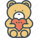 bear, gift, heart, hug, love, wedding icon