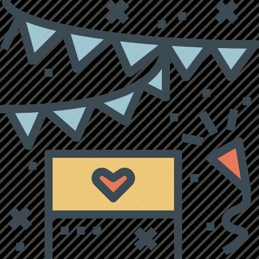 celebration, flag, party, wedding icon