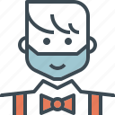 avatar, bow, groom, hipster, man, tie, wedding icon