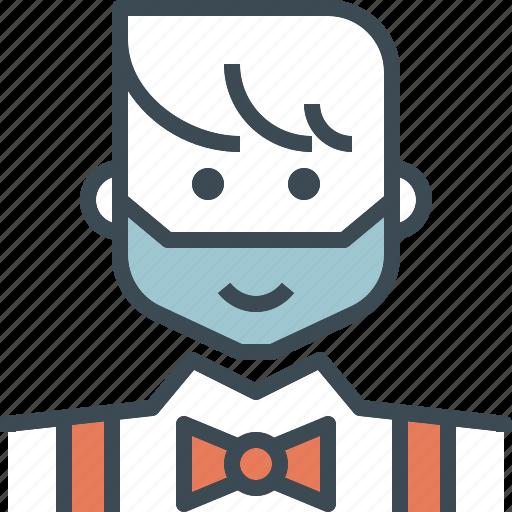 avatar, bow, groom, hipster, man, tie, wedding icon