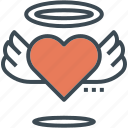 halo, heart, love, valentine, wedding, wings icon