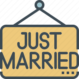 just, married, sign, wedding icon