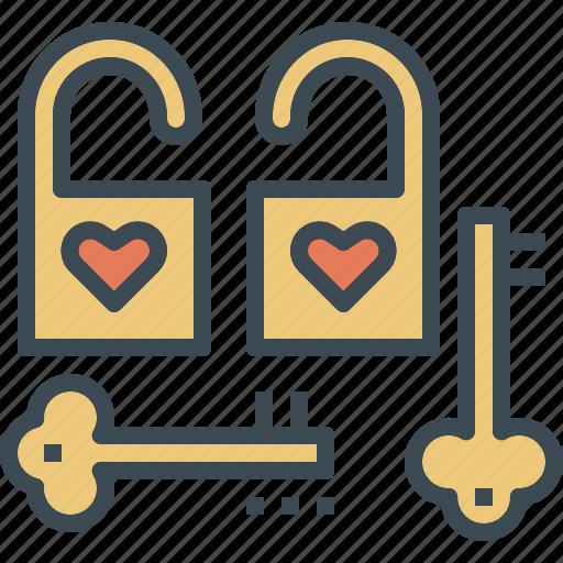 couple, key, lock, love icon