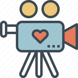love, presentation, video, wedding icon