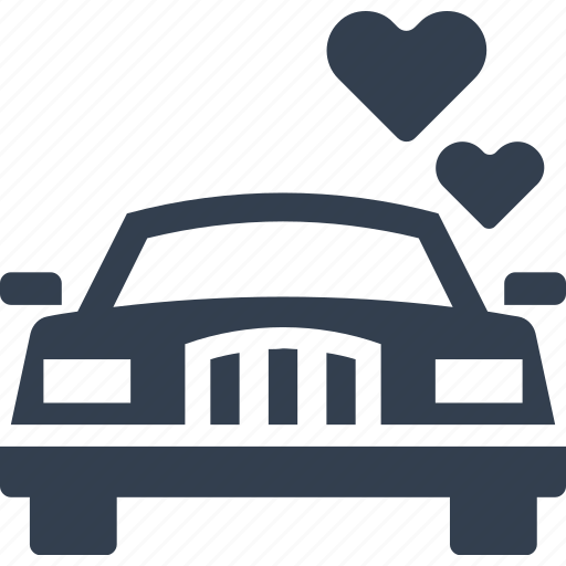 car, couple, engagement, heart, honeymoon, kisses, love, transport, transportation, travel, wedding icon