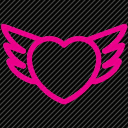 bride, couple, happy, wedding, wing of heart icon