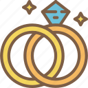 bride, couple, groom, marriage, rings, wedding icon