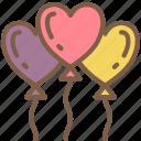 balloons, bride, couple, groom, heart, marriage, wedding