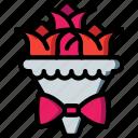 bouquet, bride, couple, groom, marriage, wedding icon