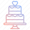 cake, dessert, food, heart, love, valentines, wedding icon