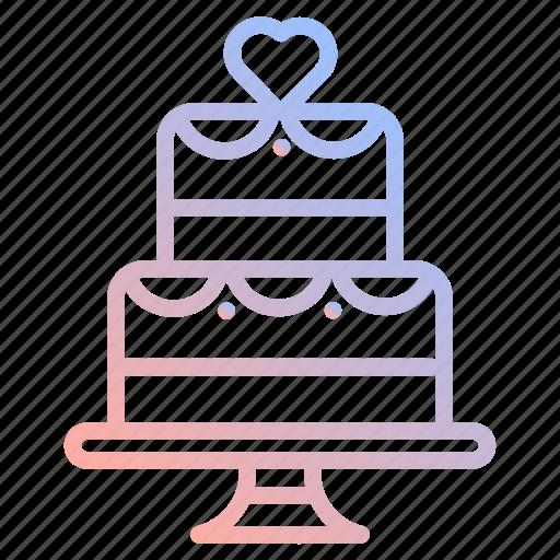cake, dessert, food, heart, love, valentines, wedding icon