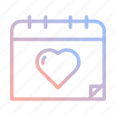 calendar, date, event, heart, love, valentines, wedding icon