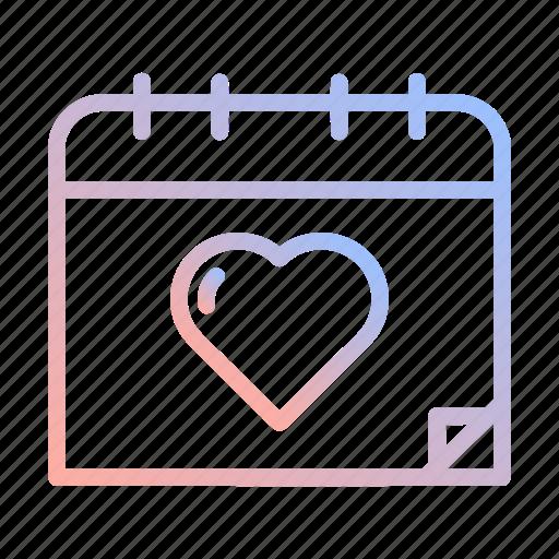 calendar, date, event, heart, love, valentines, wedding icon