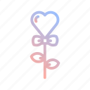 flower, heart, love, ribbon, romance, valentines, wedding icon