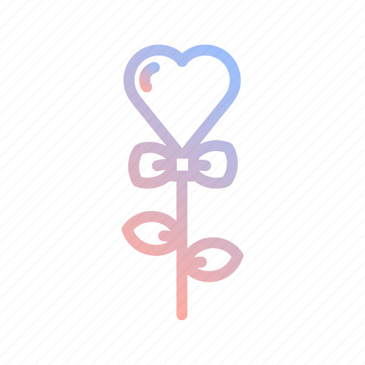 flower, heart, love, ribbon, romance, valentines, wedding icon