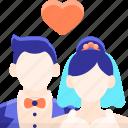 bride, couple, groom, marriage icon