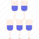 champagne, glasses, stack