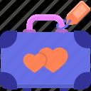 honeymoon, luggage, suitcase, travel icon