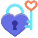 heart, key, lock icon