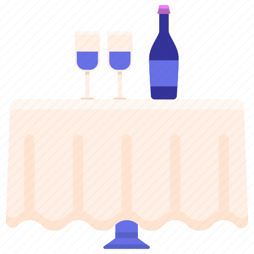 glasses, table, wine icon
