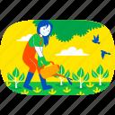 weekend, fun, illustration, garden, farm, gardening, tree