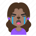 crying, emoji, female, halloween, horror, monster, werewolf icon