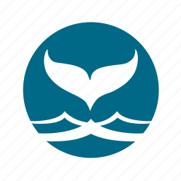 animal, ocean, sea, tail, wave, whale icon