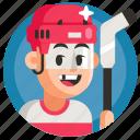 avatar, boy, hockey, man, sport