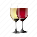 and, red, white, wine icon