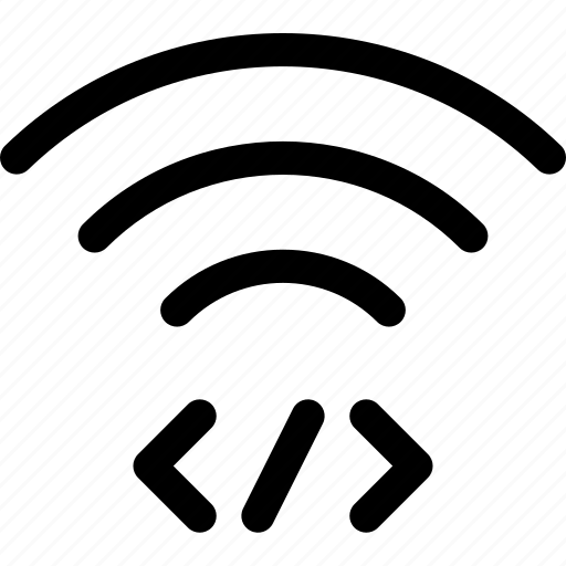 code, connection, markup, wave, wifi icon